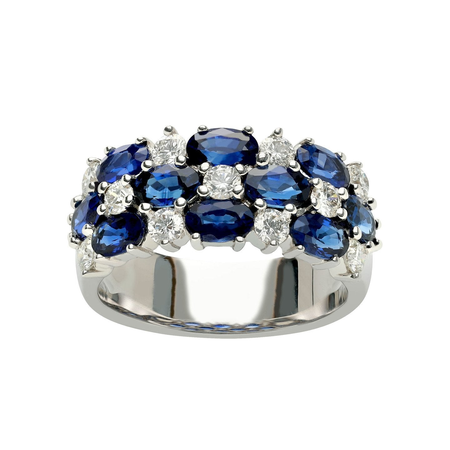 Sabel Collection 18K White Gold Sapphire and Diamond Ring