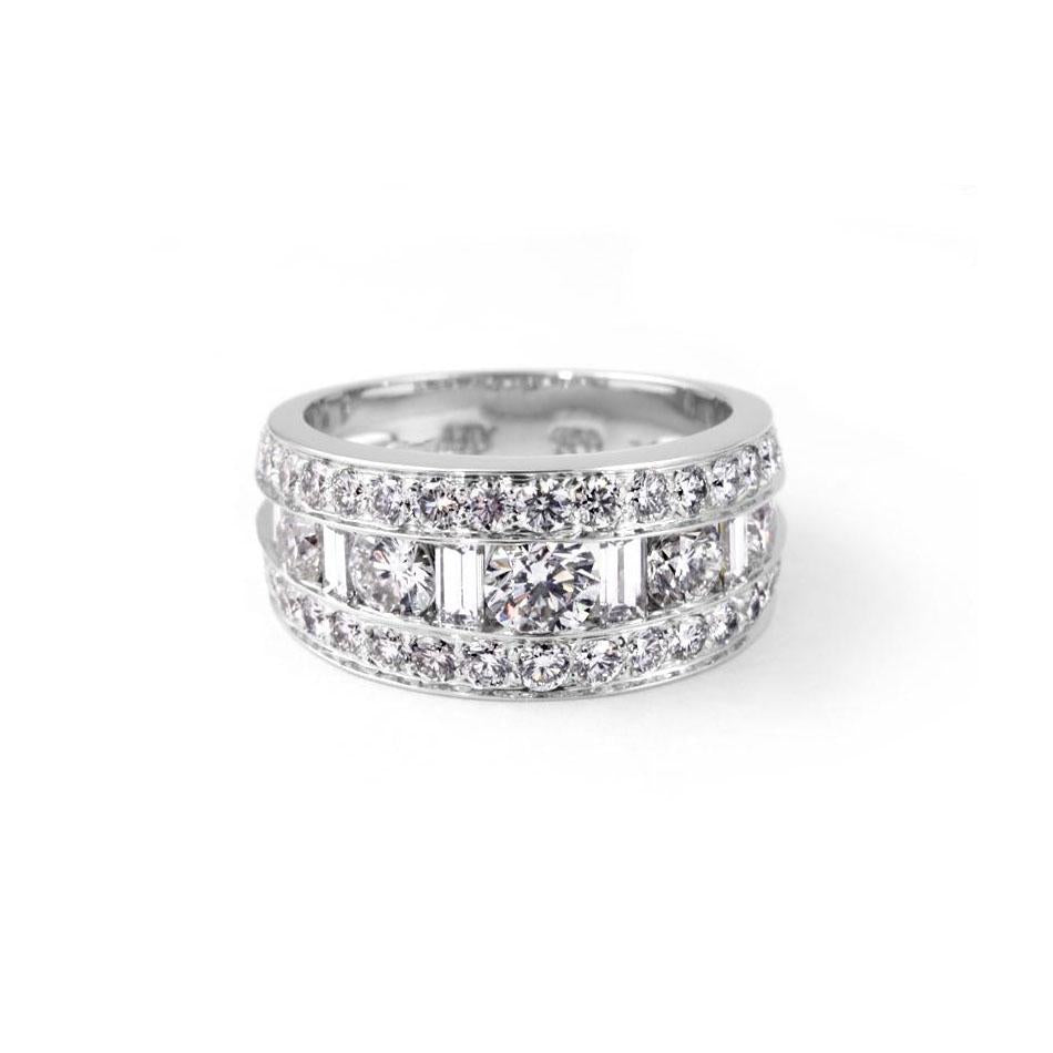 Sabel Collection 18K White Gold Wide Round and Baguette Diamond Dinner Ring