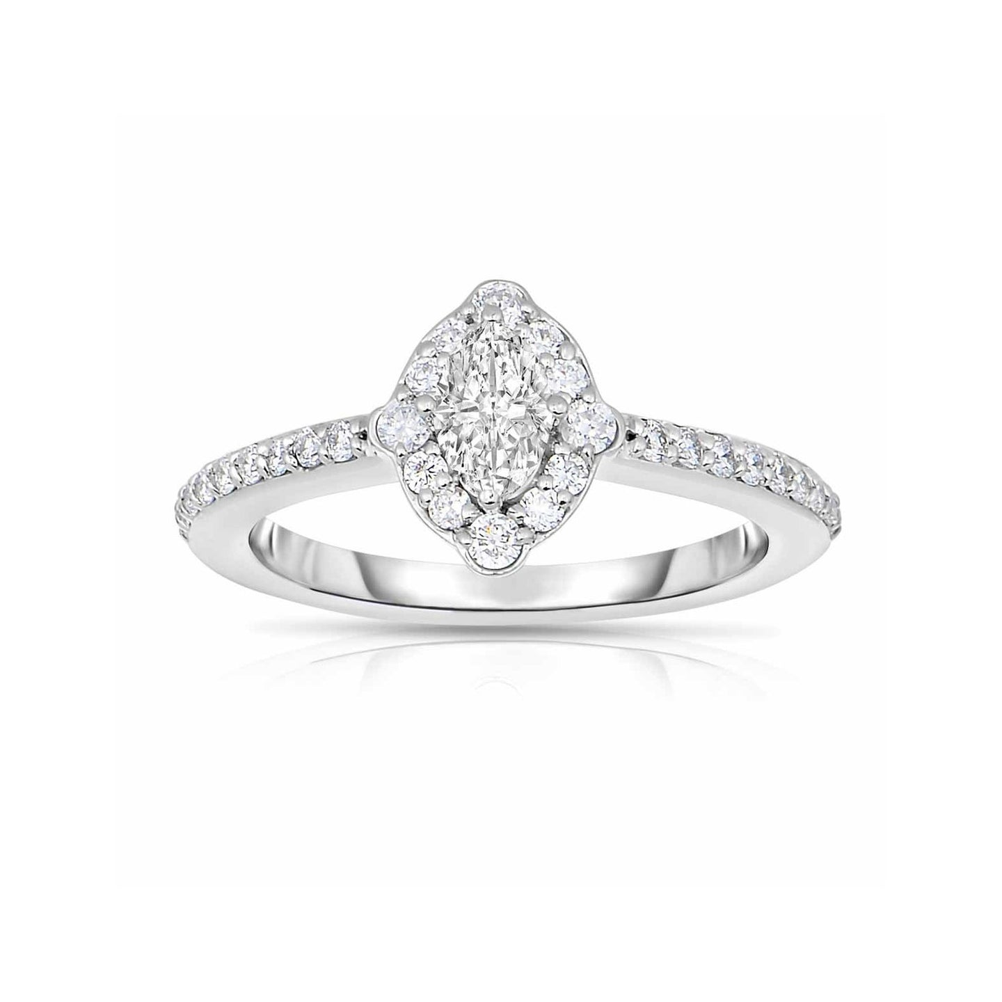 Sabel Collection Platinum Oval and Round Diamond Marquise Ring