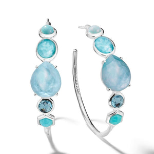 IPPOLITA Rock Candy® Sterling Silver #3 Mixed Gemstone Hoop Earrings in Waterfall