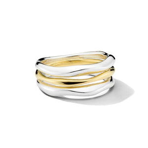 IPPOLITA Chimera Sterling Silver and Yellow Gold Triple Band Squiggle Ring