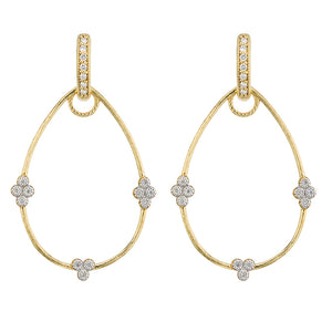 Jude Frances Provence 18K Yellow Gold Pear Shape Frame Earrings with White Diamond Stations