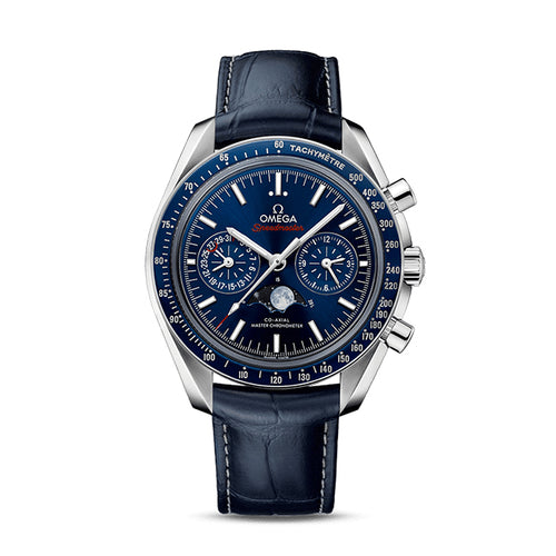 Omega Speedmaster Moonwatch Co-Axial Master Chronometer Moonphase Chronograph 44.25mm with Blue Leather Strap