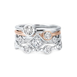 Forevermark Tribute™ Collection 18K Rose Gold Bezel Set Diamond Solitaire Stacking Ring
