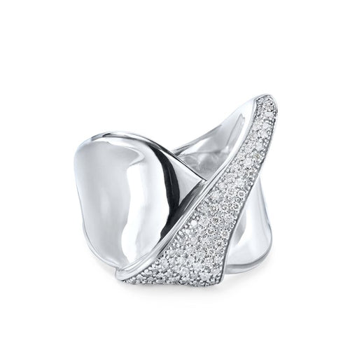 IPPOLITA Stardust Sterling Silver Diamond Folded Ribbon Ring