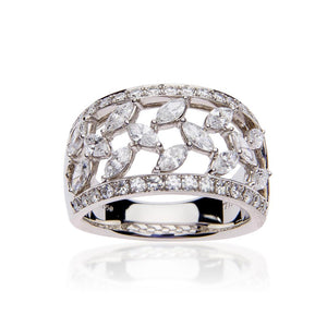 SUWA Platinum Marquise and Round Diamond Ring