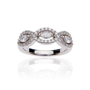 SUWA Platinum Marquise Cut and Round Diamond Ring