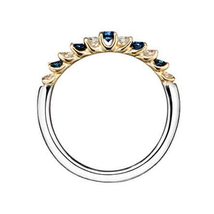 Suwa Platinum and 18K Yellow Gold Prong Set Sapphire and Diamond Ring