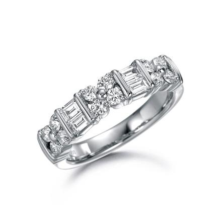 SUWA Platinum Baguette and Round Cut Diamond Dinner Ring