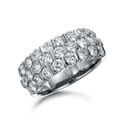 SUWA Platinum Bar Set Diamond Three Row Ring