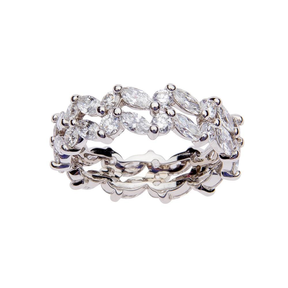 Suwa Platinum Marquise and Round Diamond Anniversary Band