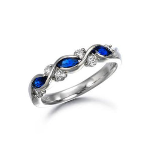 Suwa Platinum Marquise Cut Sapphire and Diamond Ring