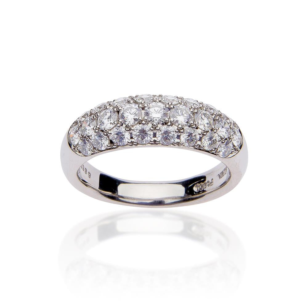 Suwa Platinum Three Row Diamond Wide Band