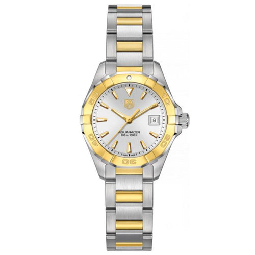 TAG Heuer Ladies' Aquaracer 27mm Quartz Silver Dial Watch with 18K Gold Accents