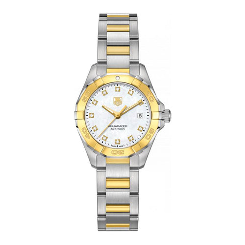 TAG Heuer Ladies' Aquaracer 27mm Quartz White Mother-of-Pearl Dial Watch with 18K Gold and Diamond Accents
