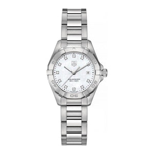 TAG Heuer Ladies' Aquaracer 27mm Quartz White Mother-of-Pearl Dial Watch with Diamond Accents