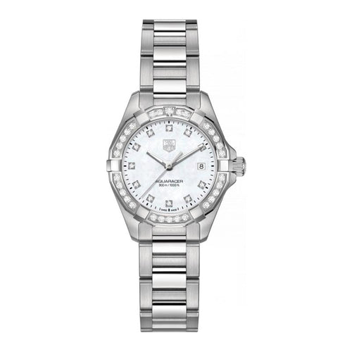 TAG Heuer Ladies' Aquaracer 27mm Quartz White Mother-of-Pearl Dial Watch with Diamond Bezel