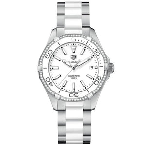 TAG Heuer Ladies' Aquaracer Automatic Movement Diamond Bezel White Dial Watch