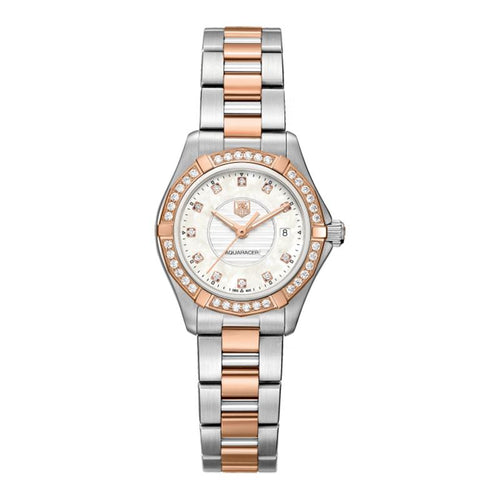 TAG Heuer Ladies' Aquaracer Quartz Mother-of-Pearl Dial Watch with 18K Rose Gold with Diamonds