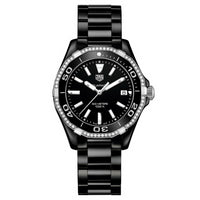 TAG Heuer Ladies' Aquaracer Quartz Movement Diamond Bezel Black Ceramic Watch