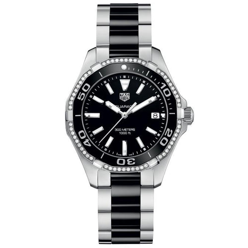 TAG Heuer Ladies' Aquaracer Quartz Movement Diamond Bezel Black Dial Watch