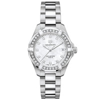 TAG Heuer Ladies' Aquaracer Quartz Movement Mother-of-Pearl Dial Watch with Diamond Bezel