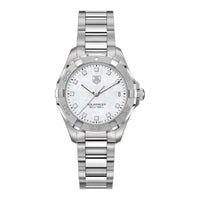 TAG Heuer Ladies' Aquaracer Quartz White Mother-of-Pearl Dial Watch with Diamond Accents