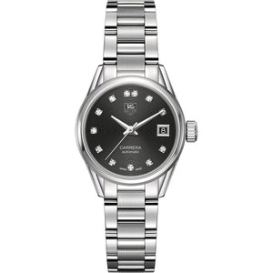 TAG Heuer Ladies' Carrera Calibre 9 Black Dial Watch with Diamonds