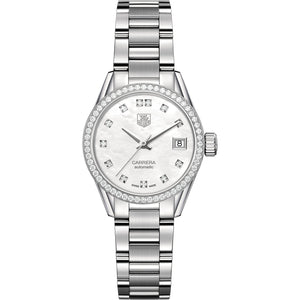 TAG Heuer Ladies' Carrera Calibre 9 White Mother-of-Pearl Dial Watch with a Diamond Bezel