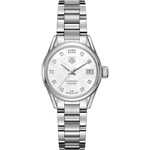 TAG Heuer Ladies' Carrera Calibre 9 White Mother-of-Pearl Dial Watch with Diamond Accents