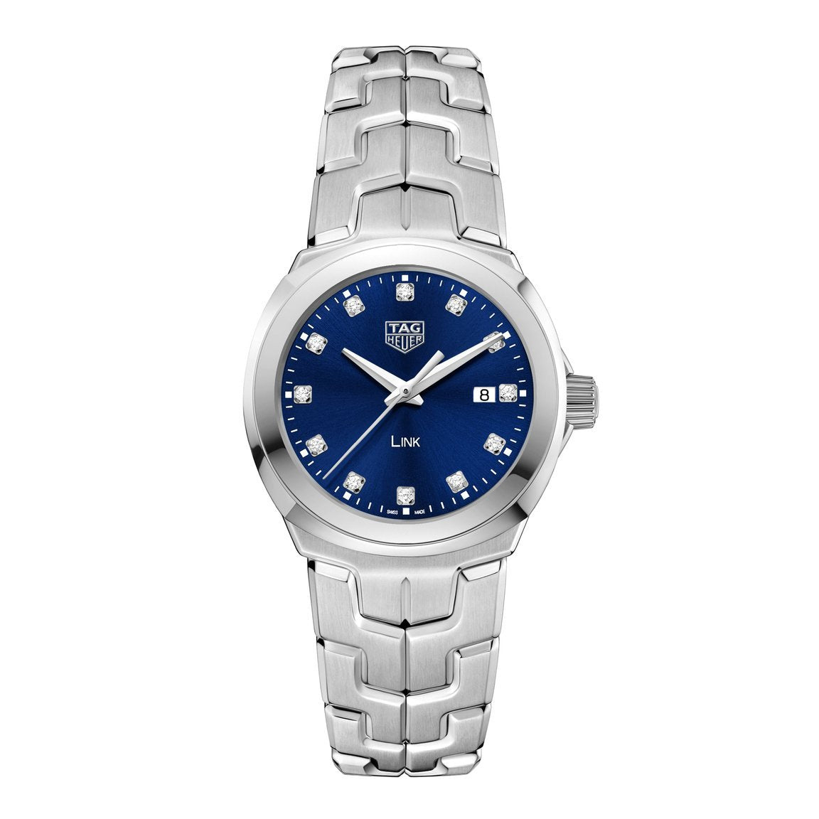 TAG Heuer Ladies' Link Quartz Movement Blue Dial Watch with Diamond Indexes