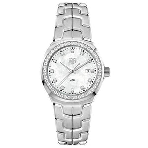 TAG Heuer Ladies' Link White Mother-of-Pearl Dial Diamond Bezel Watch