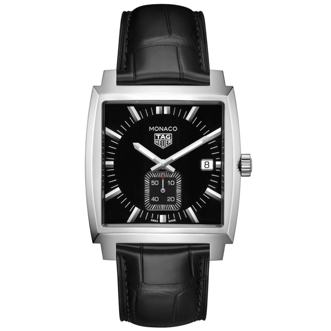 TAG Heuer Ladies' Monaco Quartz Movement Black Dial Leather Strap Watch