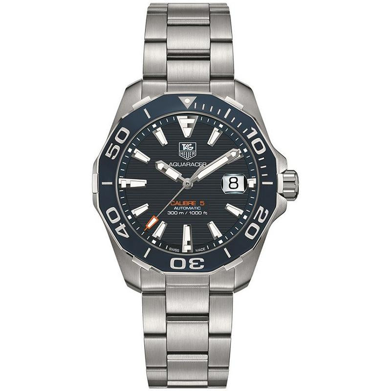 TAG Heuer Men's Aquaracer 41mm Automatic Calibre 5 Navy Horizontal Pattern Dial Watch