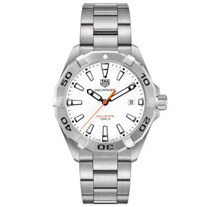TAG Heuer Men's Aquaracer 41mm Quartz Movement White Lacquered Dial Watch