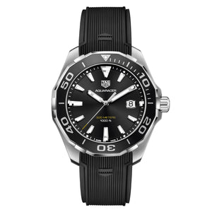 TAG Heuer Men's Aquaracer 43mm Quartz Movement Black Dial Watch with Rubber Strap