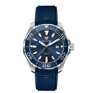 TAG Heuer Men's Aquaracer 43mm Quartz Movement Blue Sunray Dial Watch with Rubber Strap