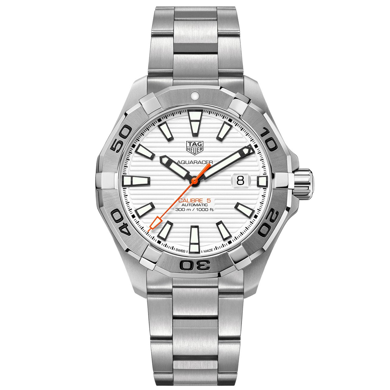 TAG Heuer Men's Aquaracer Automatic Movement White Opalin Dial Watch