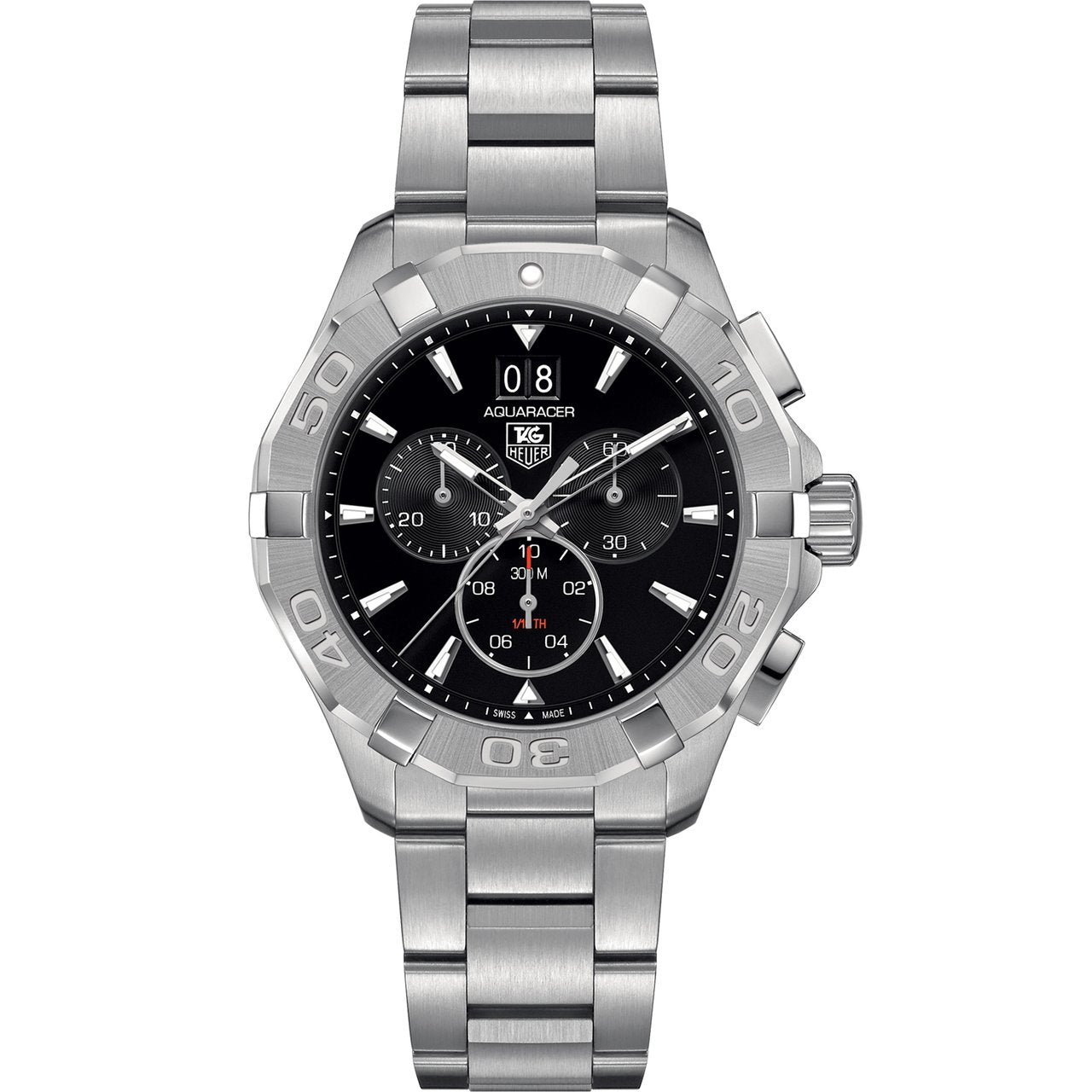 TAG Heuer Men's Aquaracer Chronograph Black Dial Watch with Polished Steel Bracelet
