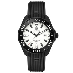 TAG Heuer Men's Aquaracer Nightdiver 43mm Quartz Movement White Dial Watch with Black Rubber Strap