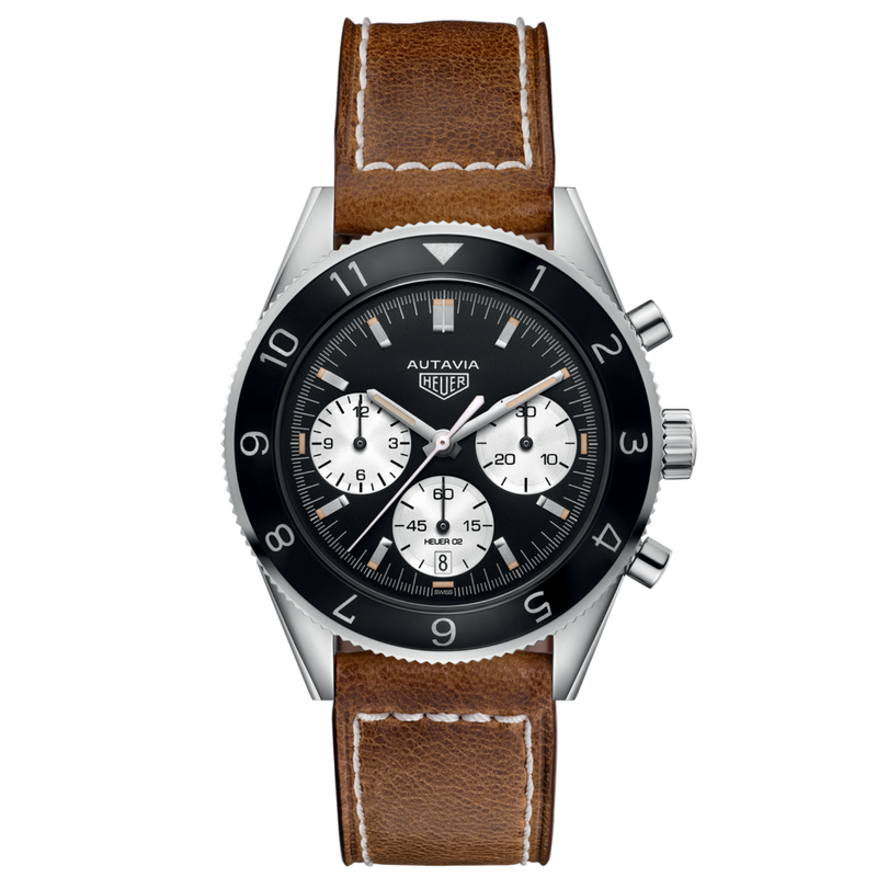 TAG Heuer Men's Autavia Calibre Heuer 02 Automatic Chronograph with Black Dial and Brown Leather Strap