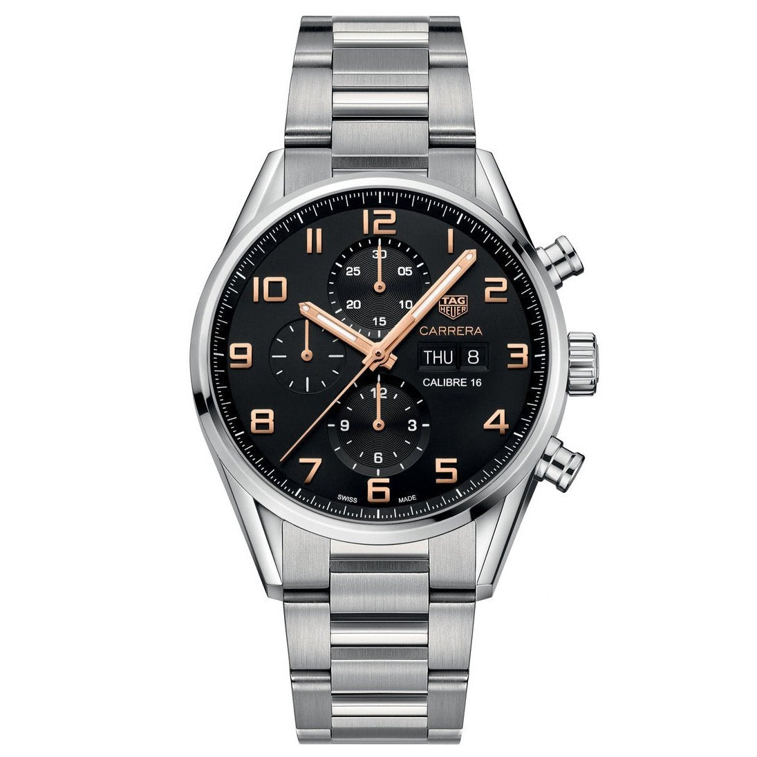 TAG Heuer Men's Carrera Automatic Calibre 16 Chronograph Black Dial Bracelet Strap Watch