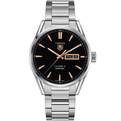 TAG Heuer Men's Carrera Automatic Calibre 5 Day-Date Watch with a Black Dial and Rose Accents