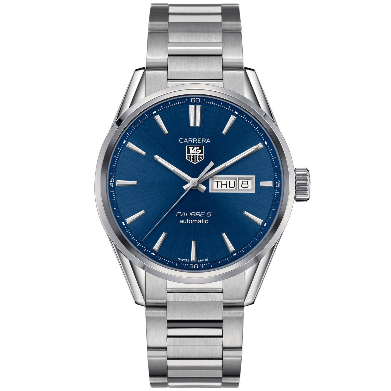 TAG Heuer Men's Carrera Automatic Calibre 5 Day-Date Watch with Blue Dial