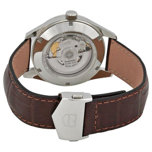 TAG Heuer Men's Carrera Automatic Calibre 5 Silver Dial Watch with Brown Leather Strap