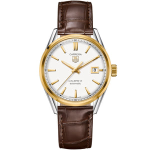 TAG Heuer Men's Carrera Automatic Calibre 5 Watch with 18K Gold Accent and Brown Alligator Strap