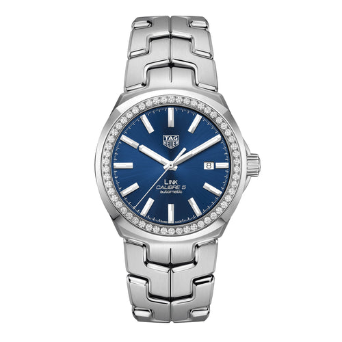 TAG Heuer Men's Link Calibre 5 Automatic Blue Dial Watch with Diamond Bezel