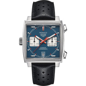 TAG Heuer Men's Monaco Automatic Calibre 11 Chronograph Blue Dial Leather Strap Watch