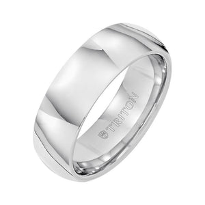 Triton Men's 7mm Comfort Fit Tungsten Carbide Domed Wedding Band