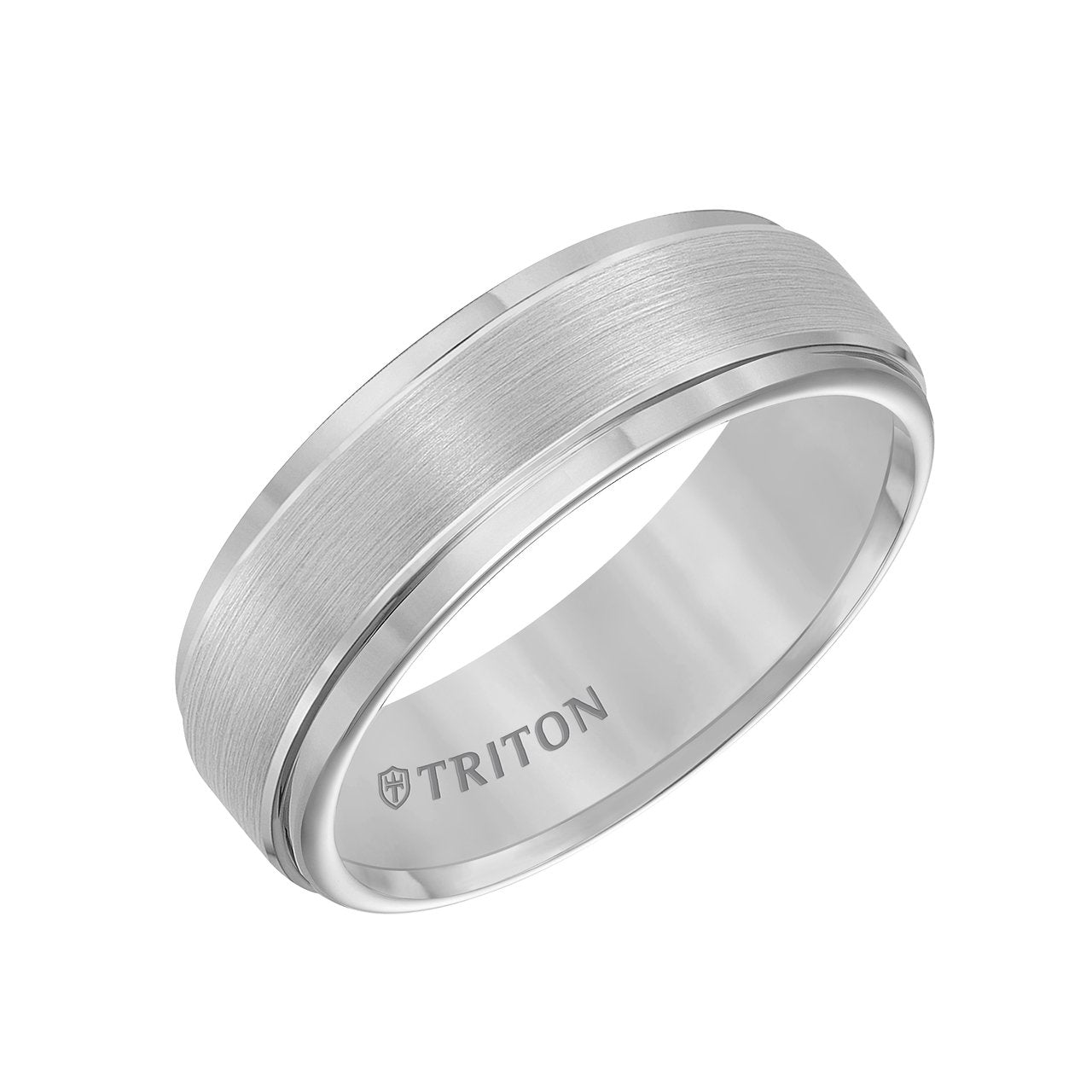Triton Men's 7mm Grey Tungsten Carbide Comfort Fit Wedding Band